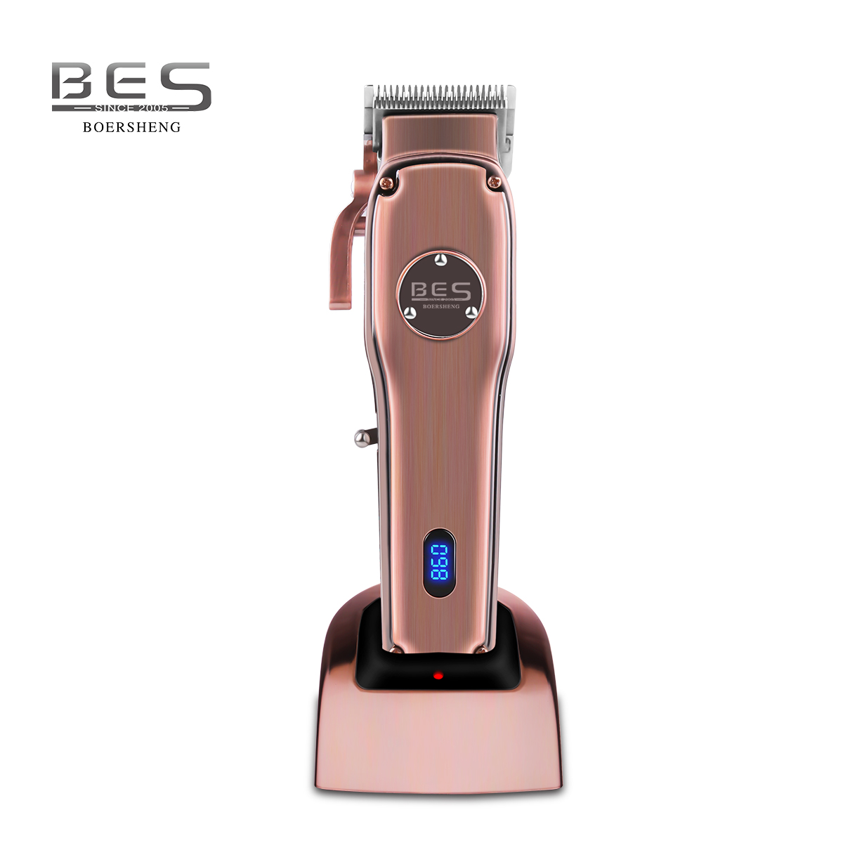 BES-9350 Stainless Steel Blade Metal Finish Cordless Haircut  Machine LCD Display  Electric Hair Clipper