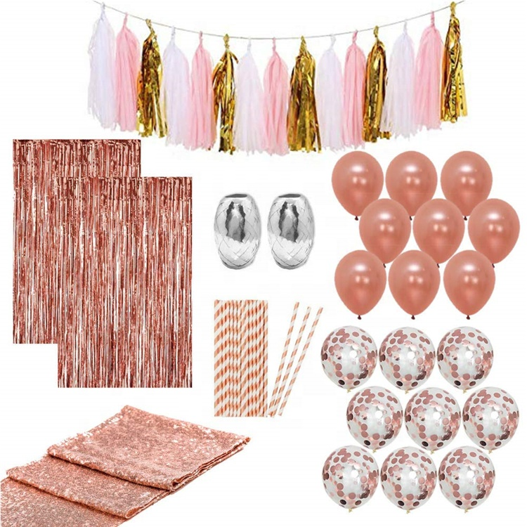 Wholesale Party Supplies Wedding Birthday Festival Rose Gold Party Decorations Set