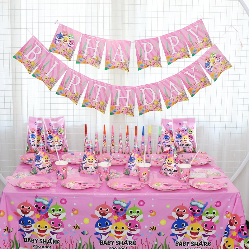 144pcs 10Serves Pink Baby Shark Birthday Party Supplies Decoration for Kids Cutlery Plates Cake Topper Girl Baby Shower