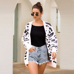shaggy cotton cardigan sweater autumn winter fashion long sleeve leopard cardigan knitted sweater coat EVD3095-54