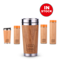450ml Eco-Friendly Bamboo Water Drinking Coffee Cup 16oz Travel Stainless Steel 100% Natural Bamboo Coffee Cup with Bamboo Shell