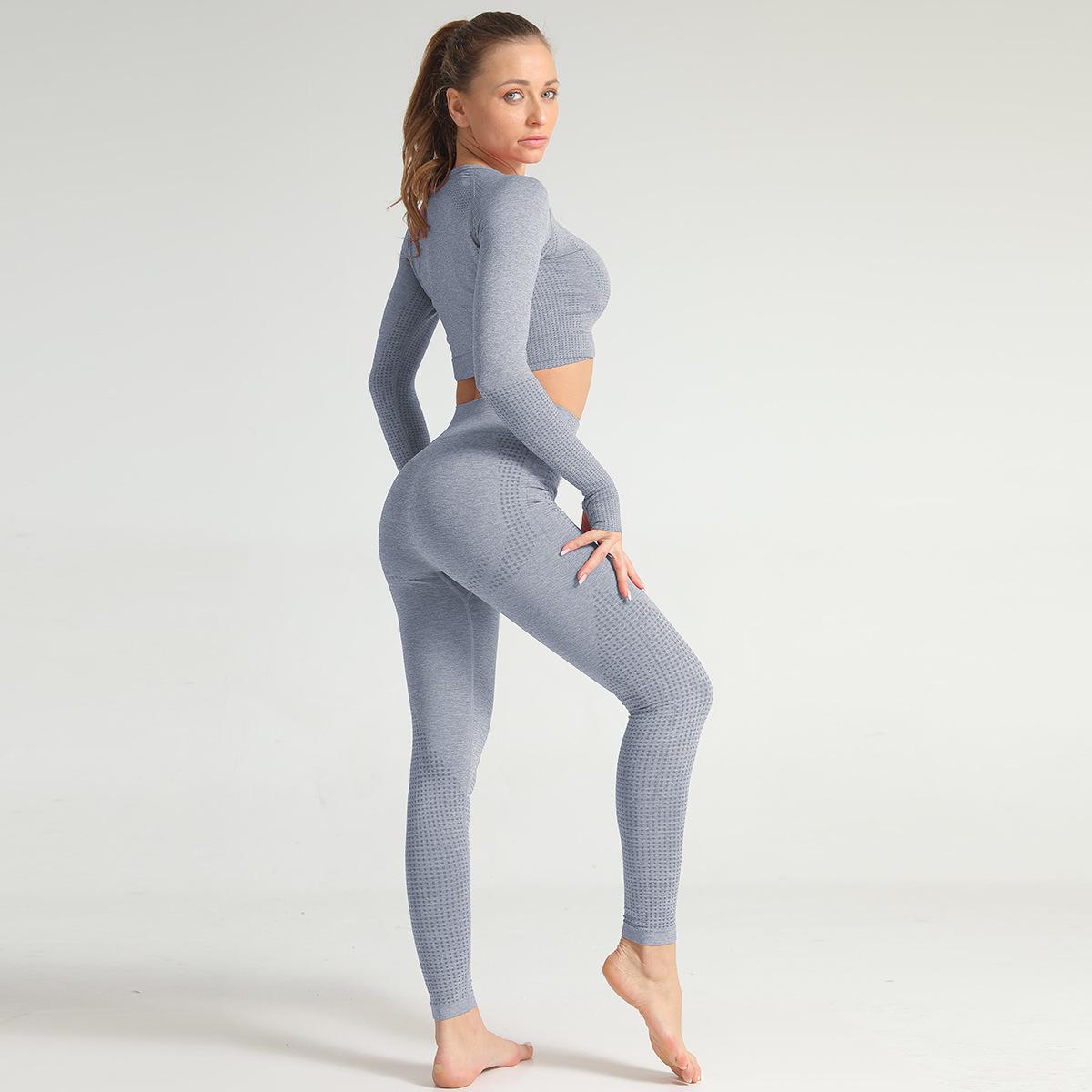 2020 Spring Summer Women Gymwear Seamless Bra Peach Butt Leggings Knitting  Yoga Set 8