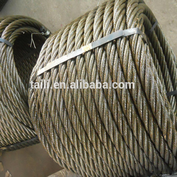 Ungalvanized çelik tel halat 6x31ws+iwrc
