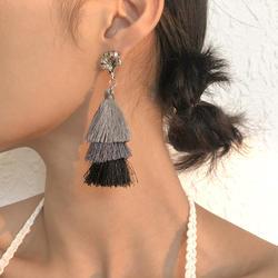 Fashion Bohemian Triple Layer Tassel Hook Earrings
