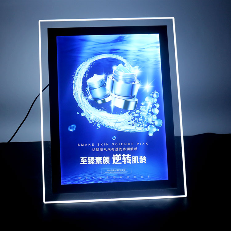 Waterdichte Ultra Slim Smd Led Teken Magnetische Panel A3 Lightbox Indoor Apple Afgeronde Led Custom Logo Crystal Slim Lichtbak