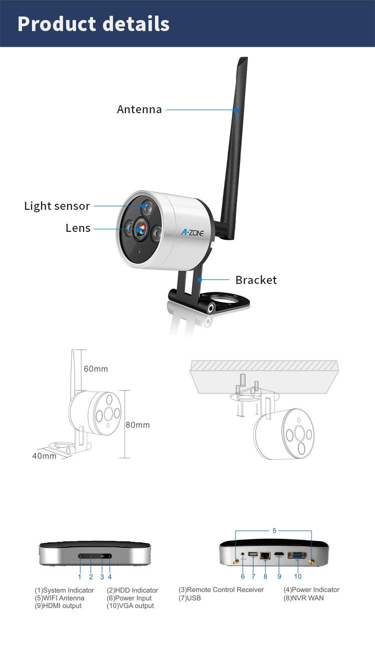 Prix usine 4CH HD Mini Kit Sans Fil Caméra Cachée WiFi Extérieure 720 P/960 P/1080 P IP wiFi Caméra Kit