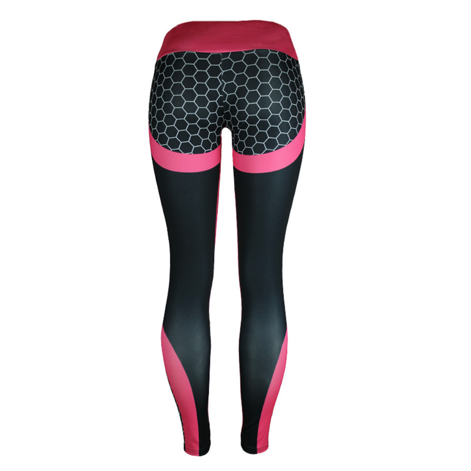 Wholesale Women's Digital Printed Geometric Honeycomb  Leggings High Waist  Pants  GYM Fitness sports pants Elastic Yoga Pants