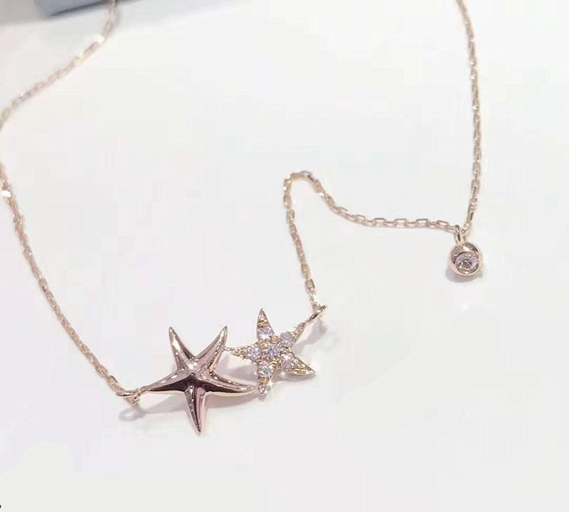 Simple Fashion Jewelry Temperament Choker Pure Gold Natural Diamond Star Shape Necklace For Women Jewelry Hot Sale Products Buy Wholesale Necklace Diamond Choker Gold Necklace Product On Alibaba Com