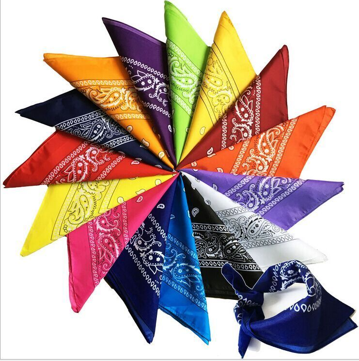 New Arrived Unisex Hip Hop Black Bandana Fashion Headwear Headband Neck Scarf Wrist Wraps Square Scarves Print Handkerchief