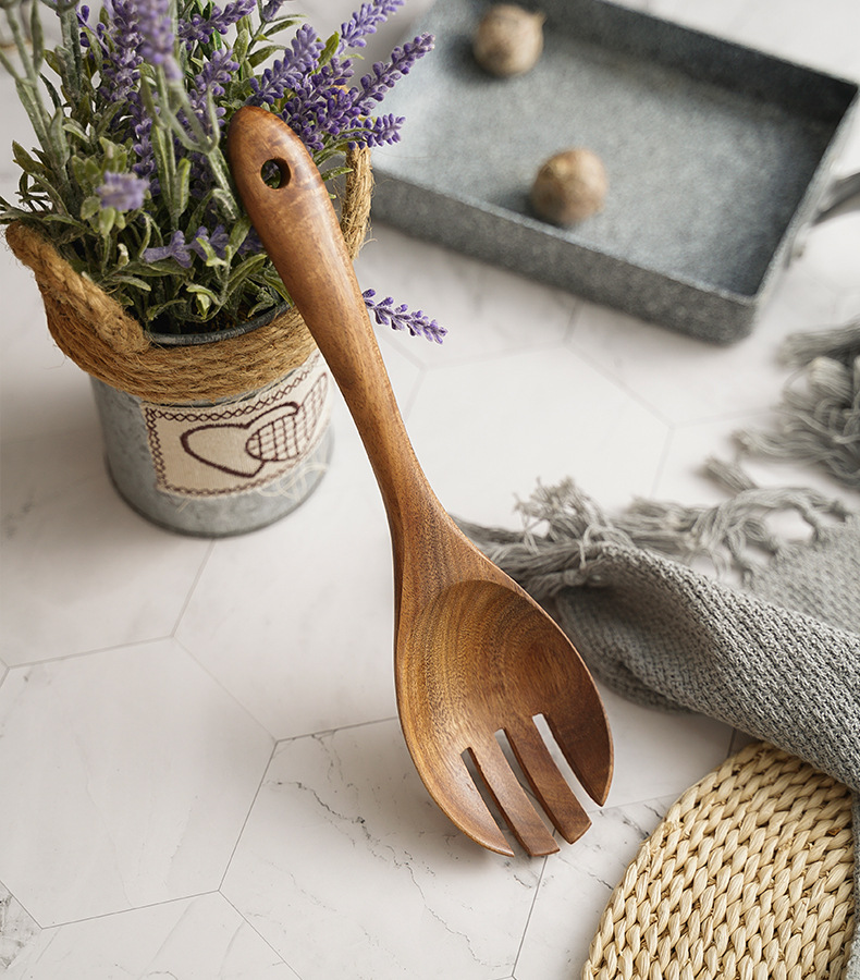 Handmade Kitchen Serving Dining Accessories Thick Handle 2 Pcs Acacia Wood Salad Servers Salad Fork Spoon Set