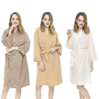 Cheap Hotel Bathrobe Spa Robes Wholesale Knitted Polyester Robe