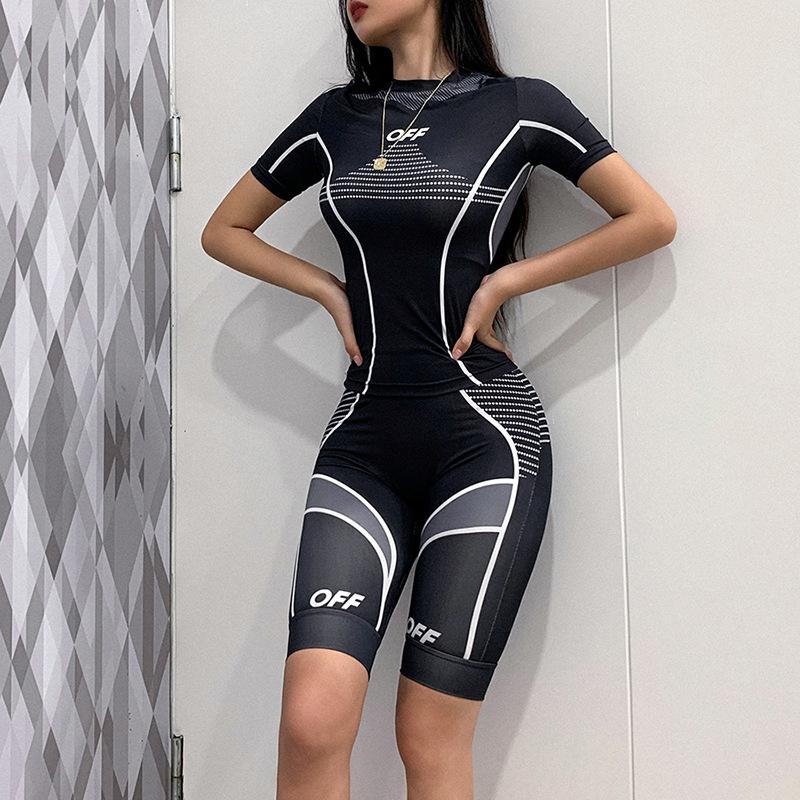 2020 Fashion print elastic tracksuit 2 piece set woman  Sportswear high waist leggings fitness set tracksuit sets
