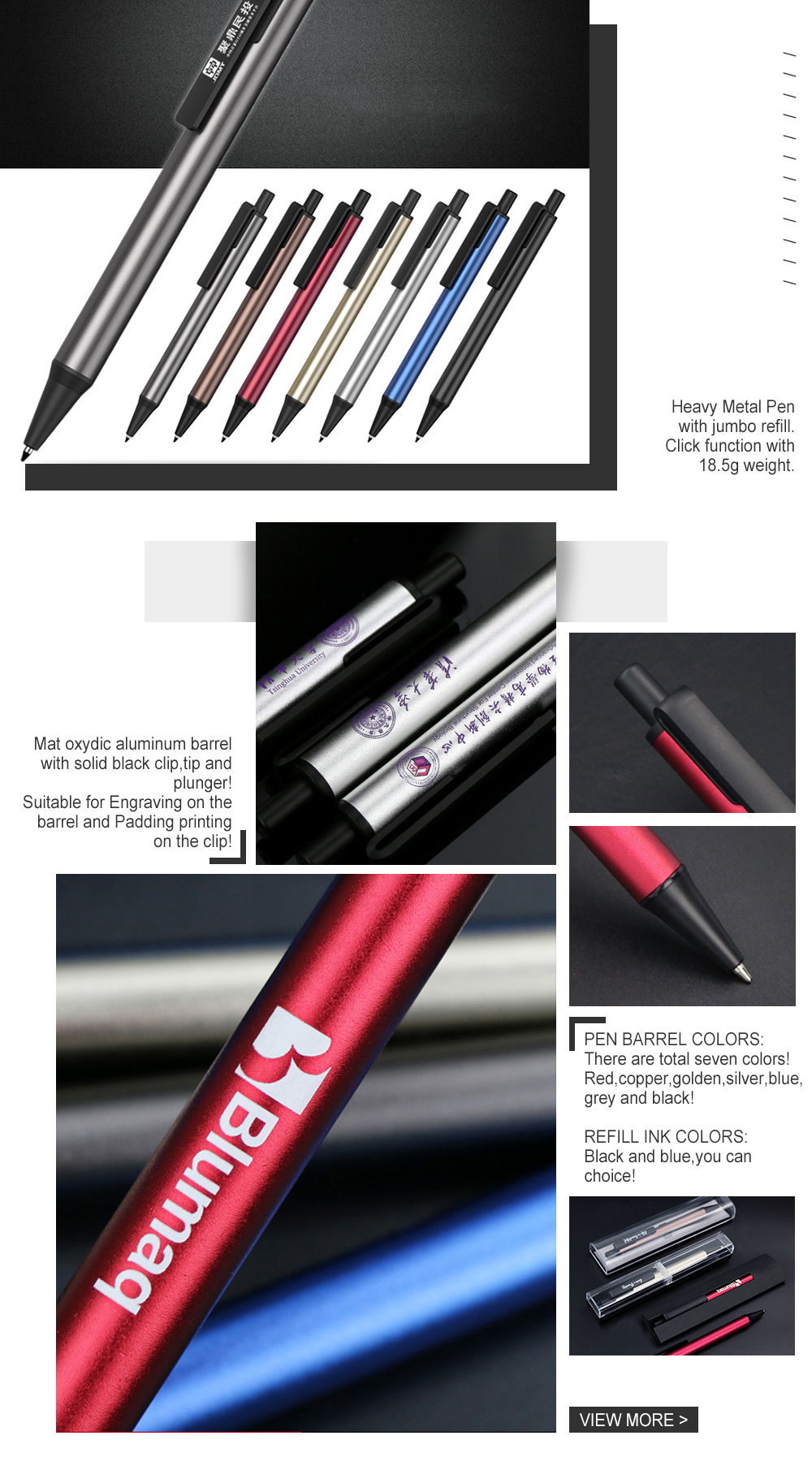 Factory  Promotional Rubber Metal Ball Pen Clip,Promotional Ballpoint Pen