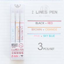 Andstal уникальные 2-строчные ручки для скрапбукинга, маркеры для скрапбукинга с двойной линией, тонкие лайнеры, цветные маркеры для журналов(Китай)