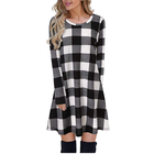 High Quality Plaid The big pendulum Dress Long Sleeve Round Neck Tunic Mini Dress For Women Lady Cheap dresses