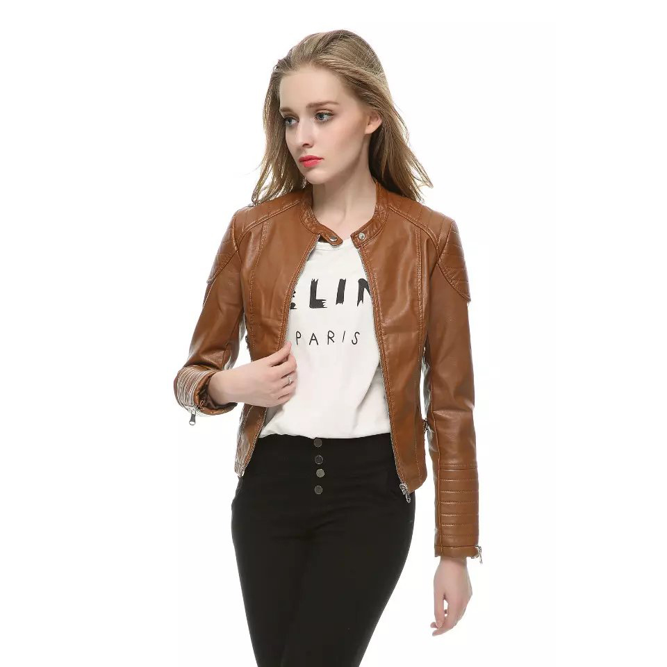 hot Leather women short jacket pu BROWN leather jacket