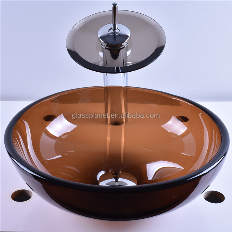 Modern Round Tempered Glass Basin Washing Bowl
