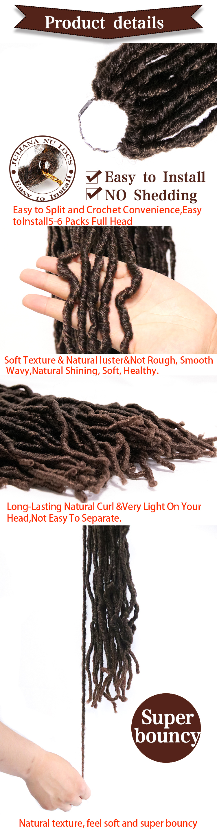 Synthetic Hair 18 inches 85g Crochet Locs Nu Locs Hair Bobbi Boss Nu Locs Crochet Braid Hair Havana