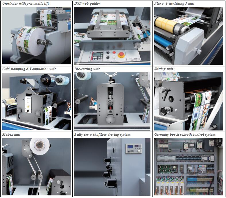 ZM-320 Semi rotary / rotary Label die cutting machine with uv varnishing printing / cold foiling / slitting