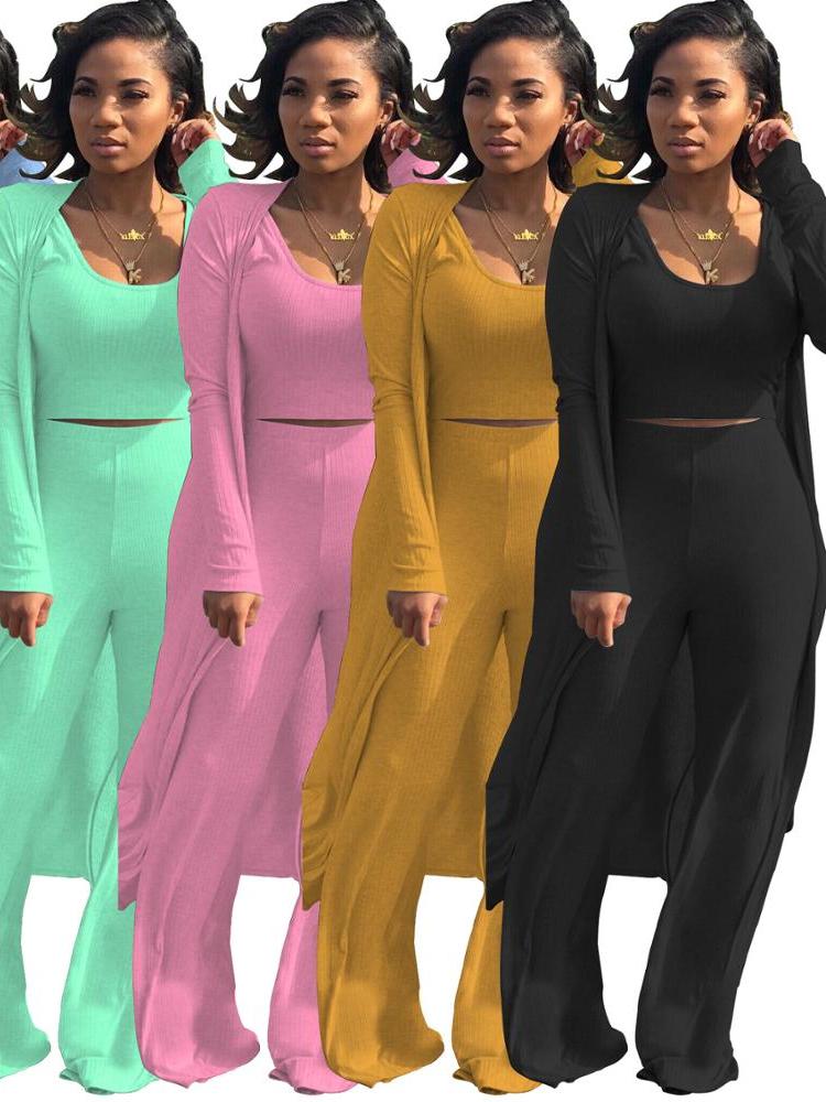 2020 gros Mode Licou Tops Bell Bottom Deux Pièces Pantalon Flare Femmes 2 Pièces Tenue