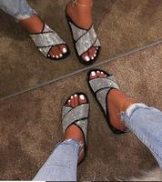 Summer 2019 New Cross Diamond Ribbon Sandals Large Size Flat-soled Slippers with European and American Style