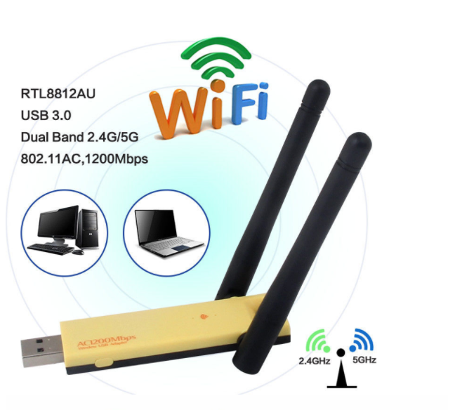 1200Mbps USB WiFi Adapter External Wireless Network Card Antenna PC LAN WiFi Receiver Soft AP  802.11n/g/a/ac adapter