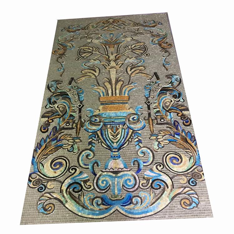 China Handmade Glass Mosaic Tile Flower Pattern Mosaic Mural