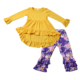 2019 Arrival Kids Clothes Ready to Ship Yellow Tunic top and Floral Leggings Newborn Baby Fall Outfit Autumn Style Clothing Set