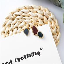 Новые корейские разноцветные эмалированные Асимметричные геометрические серьги асимметричные овальные круглые длинные серьги для женщин...(Китай)