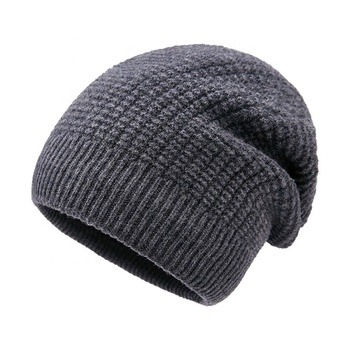 China supplier 100% wool raised pattern mens beanie hat
