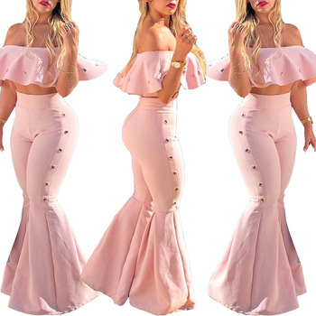 pink strapless crop top and flared pant 2 piece women set