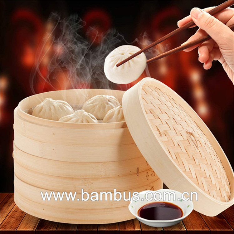 Multifunctional 30cm bamboo steamer food with cover