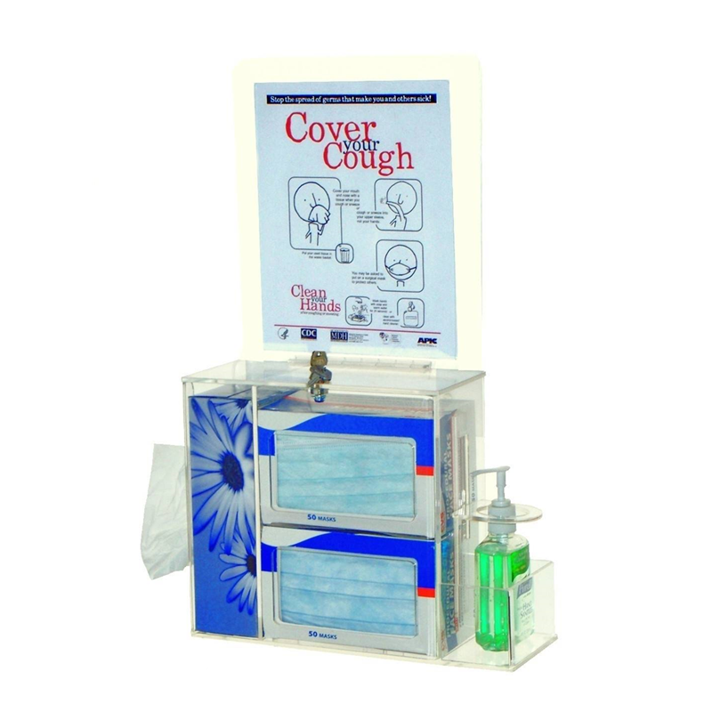 glamdisplay Clear <strong>Acrylic</strong> Locking Respiratory Hygiene Station for tissues, face masks and hand sanitizer