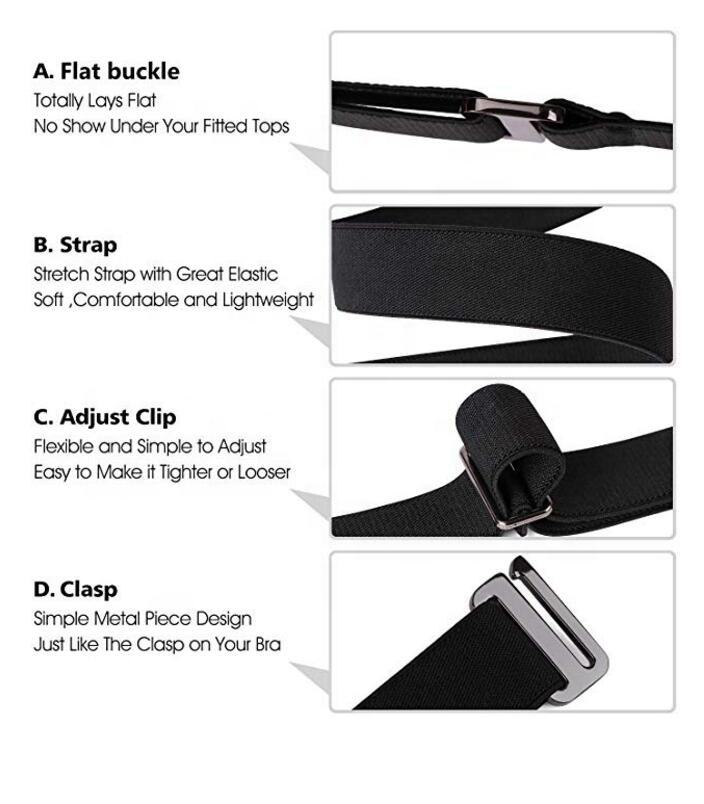 Patent maintenance Women Invisible Elastic Web Strap Belt with Flat Buckle for Jeans Pants Dresses
