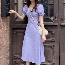 Платье для Homecoming, фиолетовое, однотонное, с квадратным вырезом, с рюшами, длиной до колена, с коротким рукавом, с ремнем, для отпуска, для даты,...(Китай)