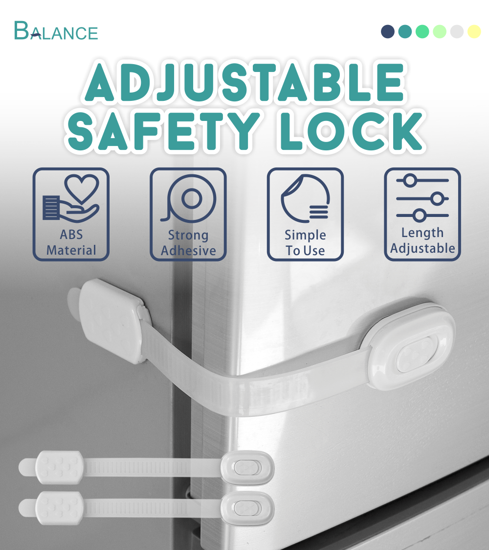 Baby safety adjustable refrigerator door lock plastic clip lock cabinet drawer lock for child home safety