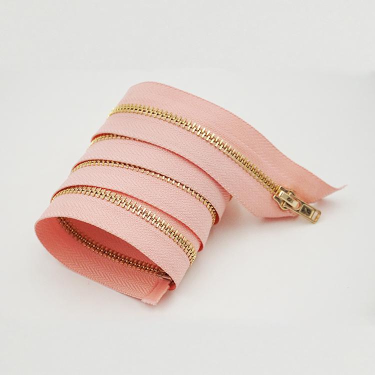 # 3 opening metal zipper golden teeth pink tape handbag zipper