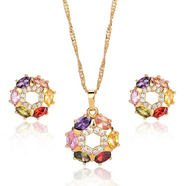 DTINA Gold Necklace And Earring Set Wedding Jewelry Sets For Female, Gold color