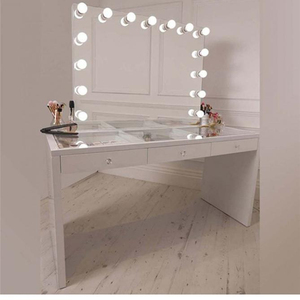 High Quality makeup Dressing Bedroom Vanity Table Set Hollywood Style vanity table with mirror and draws