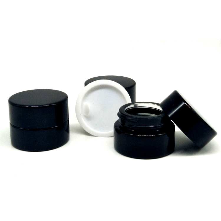 Kosmetische probe leere können kunststoff runde können schwarz schraube kappe