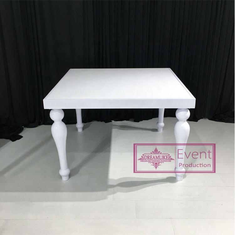 dining room white square white MDF top dinner table set
