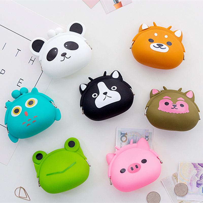 Милый мультфильм животных форма мини кошелек сумка hasp портмоне силиконовые