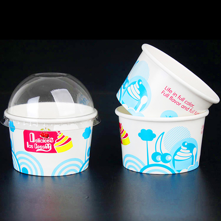 New Design Printed Compostable 16oz Ice Cream Paper Cup Bowl
