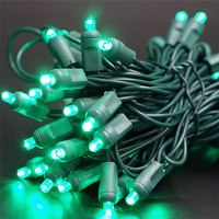 LED Christmas Light String 100 Warm White Wide Angle 5mm Concave Lights on Green Wire