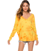 HG4171# Ladies Stylish Tops Women New Tie-dye Knitted Sweater V-neck Long Sleeves Lady Blouse Sweaters