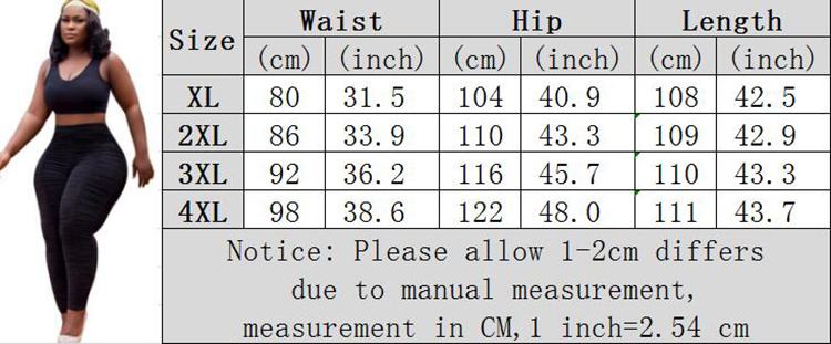 0042904 New Arrival Matched Black High Waist Pants Fashion Women Pleated Large Size Stretched Long Ladies Plus Size Trouser Pant
