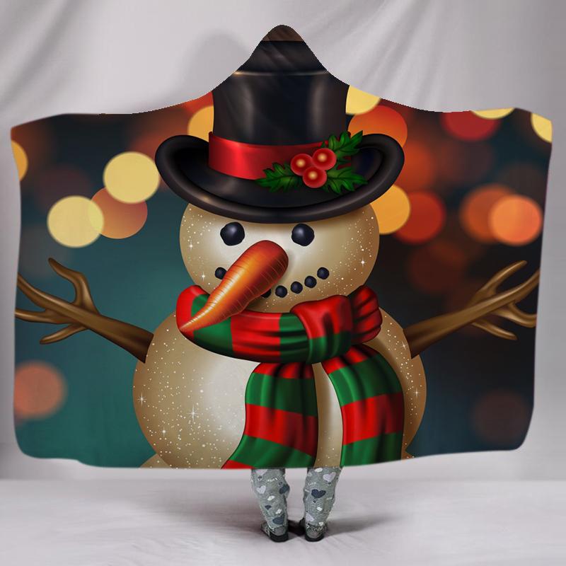 クリスマス装飾 themeral プリント快適なかわいい雪だるまパーカースローブランケット