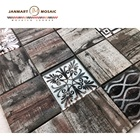 medallion mosaic border marble and glass decorative wall tile