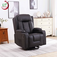 JKY Furniture PU Leather Manual Massage Reclining Sofa Chair With 360 Degree Swivel 8 Point Vibration And Heating