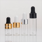 Acid Etch 3ml Small Clear Glass Essential Oil Bottle With Golden Cap Dropper
